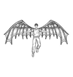 Man with mechanical wings sketch vector