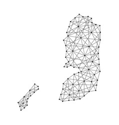Map of palestine from polygonal black lines vector