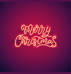 Merry christmas neon banner vector