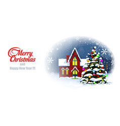 merry cristmas postcard and happy new year vector image