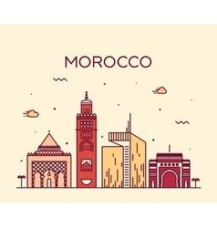 Morocco skyline trendy linear vector