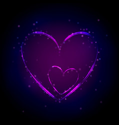 neon purple heart on dark background vector image