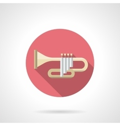 Orchestral trumpet color flat round icon vector