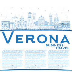 Outline verona italy city skyline with blue vector