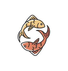 Pisces zodiac sign rgb color icon vector