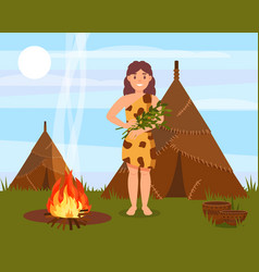 prehistoric cavewoman character standing next to vector image