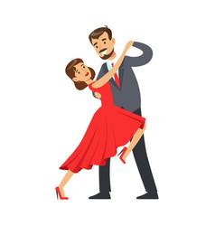 Professional dancer couple dancing tango colorful vector