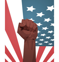 raised up african american fist over united states vector image