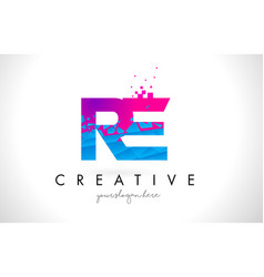 re r e letter logo with shattered broken blue vector image