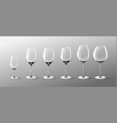 realistic empty wine glasses collection vector image