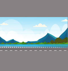 Road near river mountain forest woods natural vector