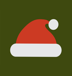 santa claus red hat with white pompon icon vector image