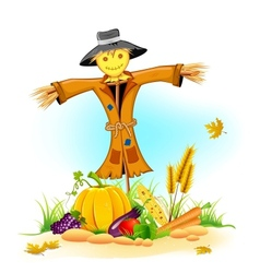 Scarecrow with Vegetable vector