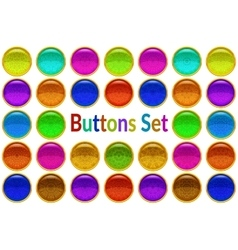 Set Golden Buttons with Patterned Gems vector