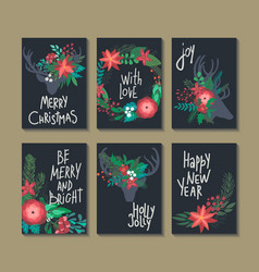 Set of 6 vertical winter holidays greeting cards vector