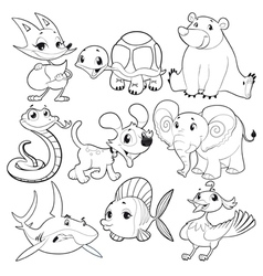 Set of animals in black and white vector