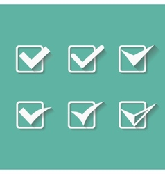 set six different white check marks or vector image