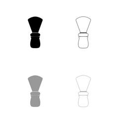 shaving brush black and grey set icon vector image