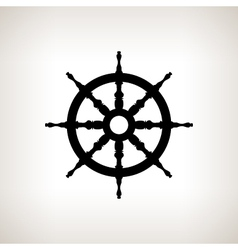 Silhouette ship wheel on a light background vector