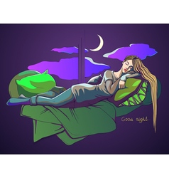 Sleeping girl Postcard good night vector