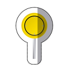 Sticker yellow circular shape traffic sign with vector