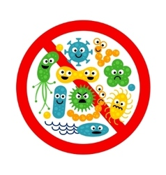 Stop bacterium sign with many cute cartoon gems vector