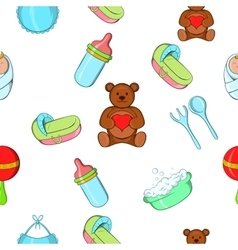 Things for baby pattern cartoon style vector