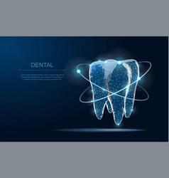 tooth abstract low poly shine bright vector image