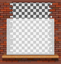 transparent frame on brick wall vector image