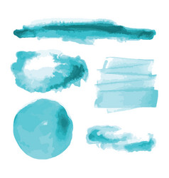 Turquoise blue watercolor shapes stains vector