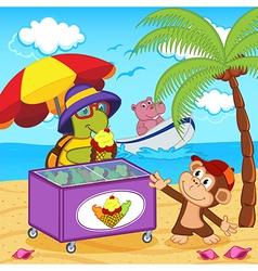 Turtle sells ice cream on beach vector