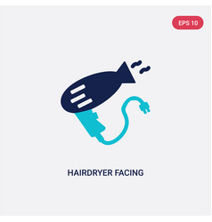 two color hairdryer facing left icon from beauty vector image