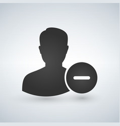 User profile sign web icon with delete symbol vector