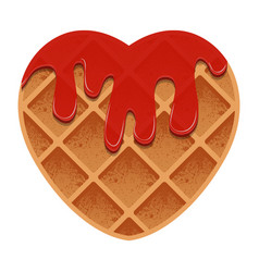 Valentines day heart shaped waffles with vector
