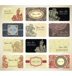 vintage ornamental business card collection vector image