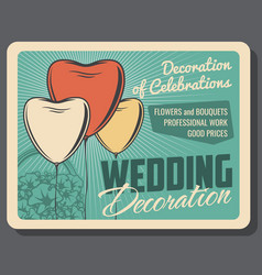 Wedding decoration of celebrations service vector