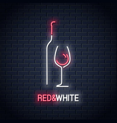 wine glass neon sign bottle of wine neon logo vector image