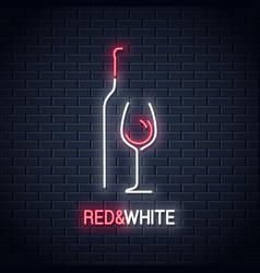 Wine glass neon sign bottle of wine neon logo vector