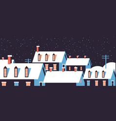 winter houses with snow on roofs night snowy vector image