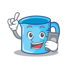 With phone measuring cup character cartoon vector
