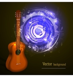 Wooden acoustic guitar music concept vector