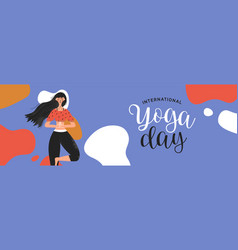 Yoga day banner woman in tree pose exercise vector
