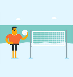 young caucasian white man playing beach volleyball vector image