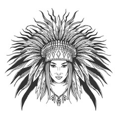 Young girl in war bonnet vector