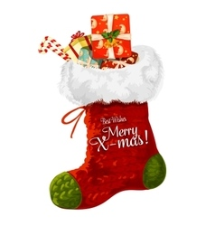 Christmas sock with gift greeting card design vector image vector image