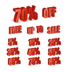 discount numbers 3d red sale percentage vector image