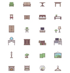 Domestic furniture icon set vector image
