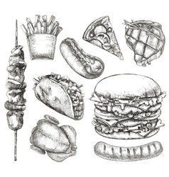 Fast food sketches vector image vector image