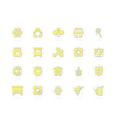 set of honey line colored icons bee vector image vector image
