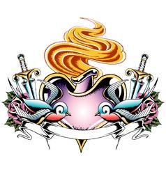swallow heart tattoo vector image